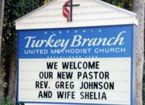 The Rev. Greg Johnson and his wife Sheila were recently welcomed to the Turkey Branch United Methodist Church in Rincon, Georgia with a 'pounding.'