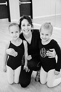 Jenny Logus with two of the young dancers at Studio 150. Courtesy photo