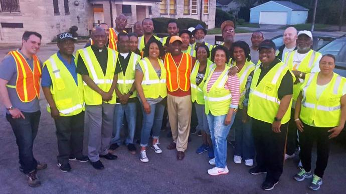 The Rev. Charles Harrison (third from left) takes part in weekly faith walks to help reduce youth violence in three Indianapolis neighborhoods. Photo courtesy of the Ten Point Coalition