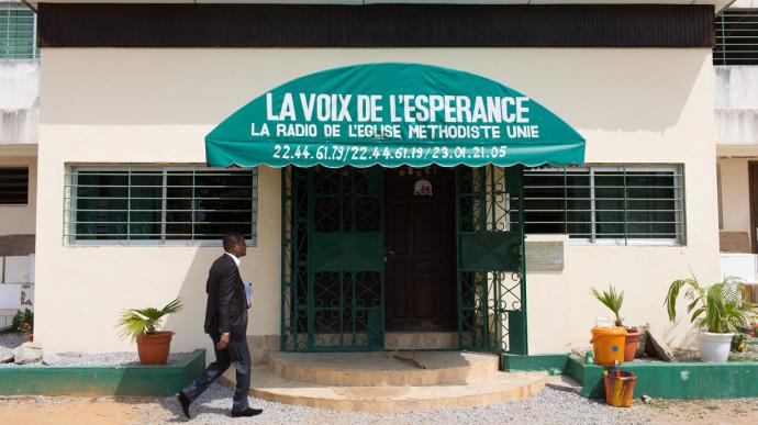 Voice of Hope Radio Station, Abidjan, Cote d'Ivoire. Photo by Mike Dubose, United Methodist Communications
