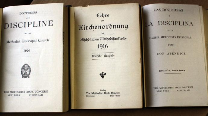The early 20th century saw The Book of Discipline published in English, German and Spanish.  Photo courtesy General Commission on Archives and History