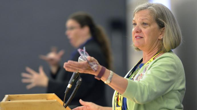 Dawn Wiggin Hare is one of seven women heading United Methodist general agencies and the Connectional Table. She leads the General Commission on the Status and Role of Women. Photo by Paul Jeffrey, United Methodist Communications