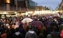 Thousands join an outdoor vigil in Pittsburgh for victims of the shooting at the Tree of Life synagogue. Photo by the Rev. Dawn Hand.