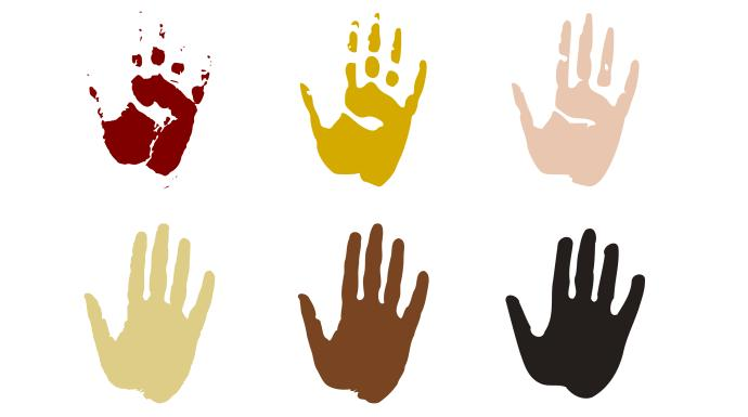 Multiracial hand prints. Image from Pixabay,com.