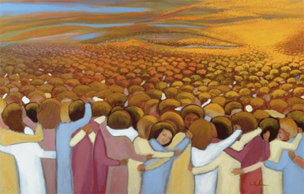 Original artwork, The Communion of the Saints, for  All Saints by Ira Thomas / www.catholicworldart.com. Courtesy Ira Thomas.