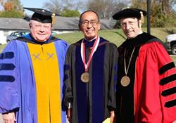 (From left) The Rev. Gerald Lord, Ken Yamada and the Rev. Ted Brown are leaders in the International Association of Methodist Schools, Colleges and Universities. Lord is an associate general secretary with the General Board of Higher Education and Ministry and Brown is president of Martin Methodist College. Now retired, Yamada is the former special assistant to higher education and ministry's general secretary.