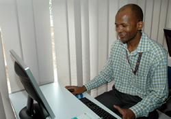 Aidilio Alfeu uses one of the computers at the Africa Training and Learning Center, located at the Mozambique Annual Conference offices in Maputo.Funding came from the Methodist Global Education Fund for Leadership Development.