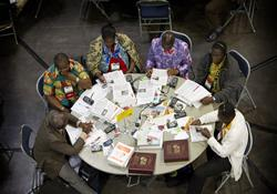 Delegates from Cote d'Ivoire consider legislation at the 2012 United Methodist General Conference in Tampa, Fla.