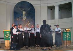 A choir sings during worship at a United Methodist church in St. Petersburg, Russia.
