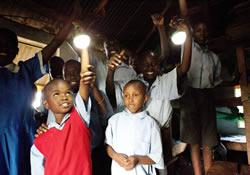 Solar-powered lights allow Kenyan students to study hours longer.