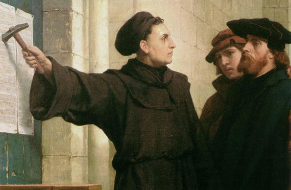 """Artist Ferdinand Pauwels' 1872 piece """"Luther Posting the 95 Theses"""" depicts Martin Luther's act in 1517. Photo courtesy of Wikimedia Commons"""