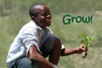 Image of boy from youth group at First United Methodist Church, Chestertown, Maryland, planting the community garden, courtesy First United Methodist Church; illustration by Laurens Glass for United Methodist Communications.