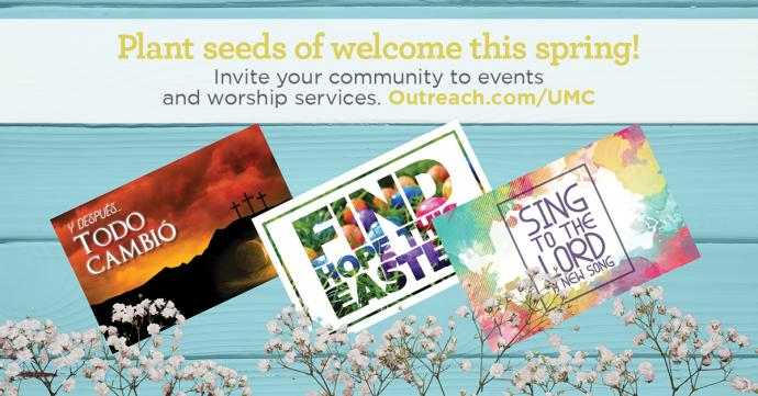 Easter outreach resources, available in English and Spanish, include direct mail postcards, posters
