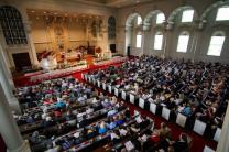 Worshippers at Easter fill Glenn Memorial United Methodist Church, Emory University, Atlanta, GA, where attendance has been on a steady rise. Photo by Joseph McBrayer.