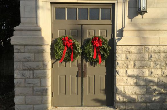 Christmas wreaths adorn the doors of Belmont United Methodist Church, Nashville, Tenn. Photo by Cindy Caldwell, United Methodist Communications.