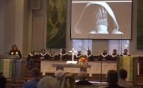 The Rev. Julie Boone leads worship at McKendree United Methodist Church in Lawrenceville, Ga. Photo by Kathleen Barry, United Methodist Communications.