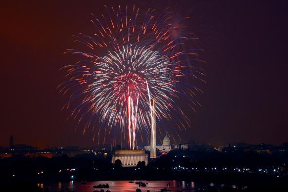 July 4th fireworks at The National Mall, Washington, D.C., during a 2008 celebration. Photo: Carol M. Highsmith's America, Library of Congress, Prints and Photographs Division, courtesy of Wikimedia Commons.