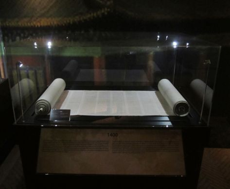"The Bridwell Library Chinese Torah scroll will be on display at the Vatican's Braccio di Carlo Magno museum, adjacent to St. Peter's Square, through June 22 as part of the exhibit ""Verbum Domini II: God's Word Goes out to the Nations."""