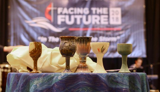 Elements for Holy Communion sit on the center table at Facing the Future 2018. Photo by the Rev. Jim Keat, GCORR.