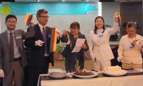 Staff with the United Methodist Board of Global Ministries cut a symbolic ribbon during a love feast for the opening of the agency's new Asia regional office in Seoul, South Korea. From left are the Rev. Paul Kong, Thomas Kemper, Joy Eva Bohol, the Rev. Myungim Kim and Rebecca Asedillo. United Methodists and ecumenical partners joined in a March 23 dedication service at Kwanglim Methodist Church to celebrate the office opening. Photo by Jacob Lee, UMNS
