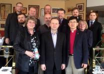 Representatives of churches and religious organizations in the Ukraine and Russia met Jan. 20-22, 2015, in Wuppertal, Germany, to develop plans for dialogue. Participants included United Methodist Bishops Eduard Khegay and Rosemarie Wenner, the host, front row, third and fourth from left. Photo courtesy of Bishop Eduard Khegay