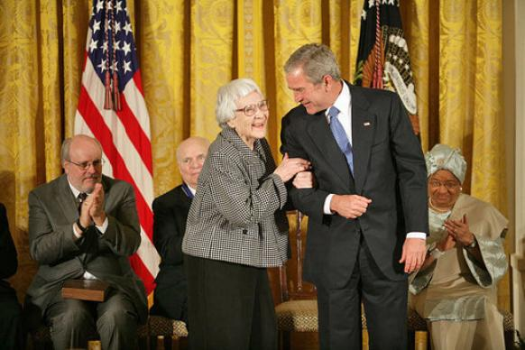 Author Harper Lee received the Medal of Freedom from President George W. Bush in a 2007 White House ceremony. White House photo.