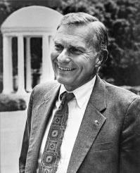 Paul Hardin III, seen on campus of the University of North Carolina-Chapel Hill, which he led as chancellor. He also served as president of three United Methodist-related schools, Wofford College, Southern Methodist University and Drew University. Photo by Will Owens, courtesy of UNC-Chapel Hill.