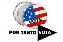 Logo for Por Tanto Vota. Photo of voting buttons by Pete Linforth, courtesy of Pixabay.