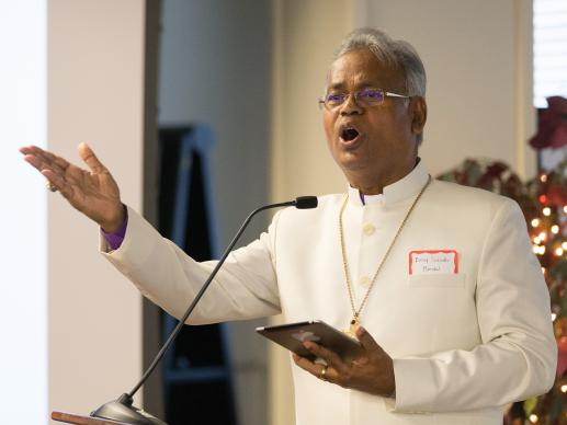Bishop Subodh C. Mondal of the Methodist Church in India shares his faith journey during a presentation at The Upper Room in Nashville, Tenn. Photo by Mike DuBose, UMNS.