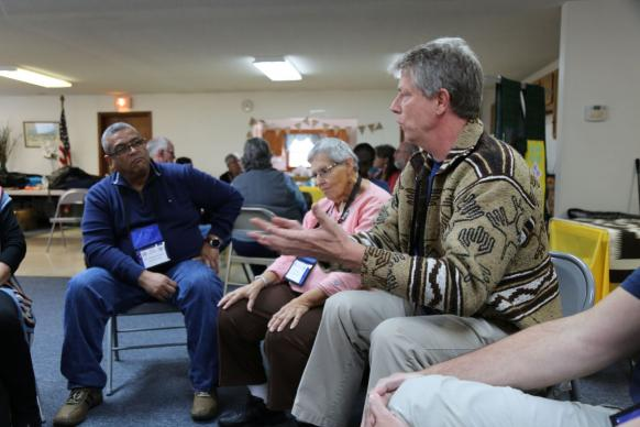 "During a ""Loss of Turtle Island"" exercise at the Northeastern Jurisdiction Native American Ministries Committee annual gathering, participants were led through an experience that illustrated the progressive loss of land, culture and life of Native peoples in the United States. Photo by the Rev. Deborah Coble, West Virginia Conference."