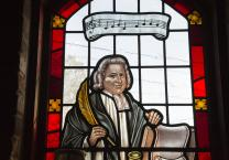 Stained glass window featuring Charles Wesley from Grace United Methodist Church in Atlanta, part of the United Methodist Church Global Mission Center. Photo by Kathleen Barry, United Methodist Communications