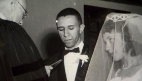 The Rev. Gilbert H. and Grace Caldwell on their wedding day in 1957. Photo courtesy of the Caldwells via CBS News.