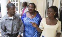 Sia Nyama Koroma, the first lady of Sierra Leone (center) tours The United Methodist Church's Kissy Hospital guided by Dr. Martin Salia and Catherine Norman. Photo by Mike DuBose, UMNS.