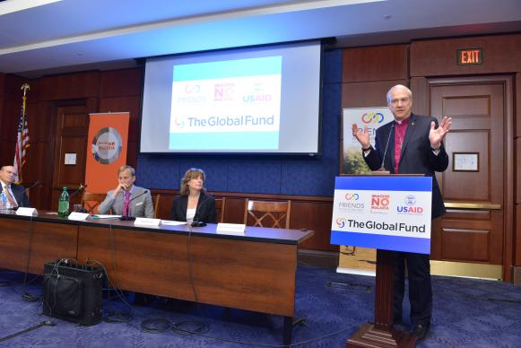 Bishop Thomas Bickerton speaks at the U.S. Capitol as Imagine No Malaria, an initiative of the people of The United Methodist Church, presents $9.6 million to the Global Fund to prevent malaria deaths. Photo by Jay Mallin, UMNS