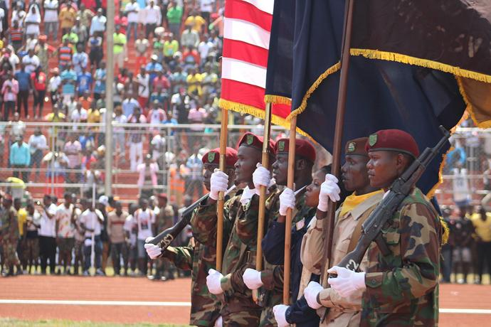 Flag bearers present the colors during the inauguration of Liberian President George Manneh Weah in Monrovia. Photo by E Julu Swen, UMNS.