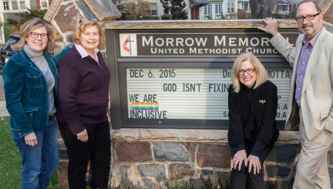(From left) Dorothy Wetzel, Andrea Wren-Hardin, Kathy Finch, and the Rev. Brad Motta, pastor at Morrow Memorial United Methodist Church.  Photo by Jeff Wolfe