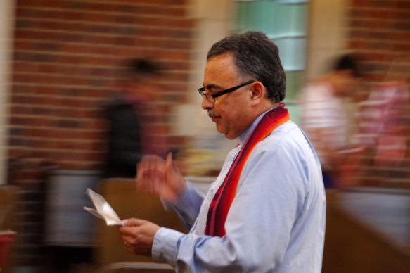 The Rev. David Martinez prepares to led the September 11 remembrance march from Scarritt Bennett to the Vanderbilt University chapel.  Photo by Gustavo Vasquez, United Methodist Communications