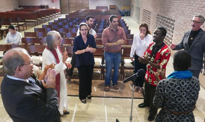 A song rehearsal in the chapel at the Interchurch Center in preparation for the commissioning of eight new missionaries by the Board of Global Ministries. Photo by Bob Gore, Global Ministries