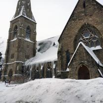 Snow continues to pile up around Union United Methodist Church in Boston's South End as viewed in a photo taken by Gary Bailey, church trustee. Photo courtesy of The Union Church of Boston