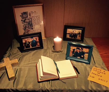 Pictures of Kelly Gissendaner and a journal are available to students on Emory University's Candler School of Theology campus to write prayers and notes.