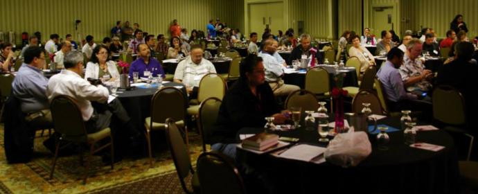 Attendees gather for the first opening plenary session at MARCHA 2015 in Madison, Wis. on August 13, 2015. Photo by Gustavo Vasquez, UMNS