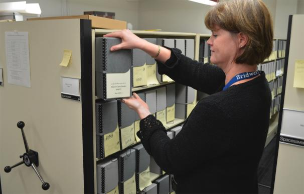 Colleen Bradley-Sanders, an archivist, spent 6,000 hours, over more than four years, reorganizing the Albert Outler papers at Bridwell Library. Photo courtesy of Bridwell Special Collections, Southern Methodist University
