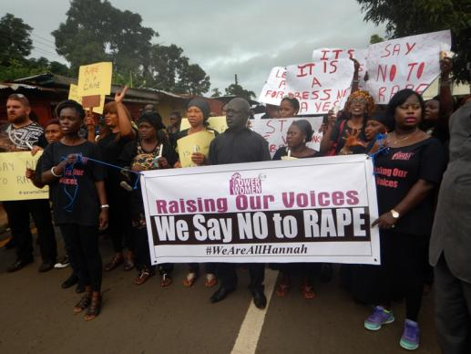 Several groups carry anti-rape messages at the demonstration. Photo by Phileas Jusu, UMNS
