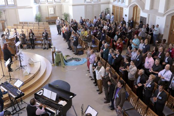 An overall chapel view during the third National Consultation on Hispanic/Latino Ministry held at Duke University Divinity School in Durham, N.C. The event took place March 12-14, 2015. Photo by Arthur McClanahan, Iowa Conference