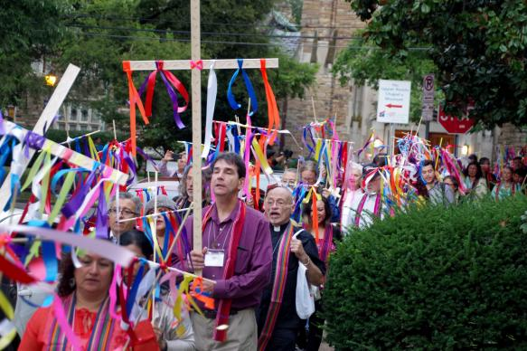 A group of clergy and lay leaders from six different Christian denominations march from Scarritt Bennett to the Vanderbilt University chapel in remembrance of the victims of Sept. 11. Photo by Gustavo Vasquez, United Methodist Communications