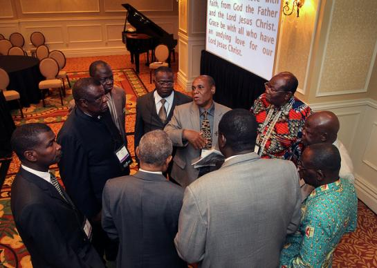 Bishop Eben Nhiwatwa of Zimbabwe (center) holds a meeting of African bishops following the April 26, 2012