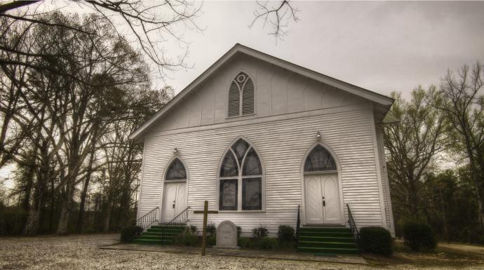 Bethel United Methodist Church, near Washington, Ga., was founded around 1835. The current white-frame sanctuary dates to 1916, and was built for about $7,000, including furnishings. Photo by Scott MacInnis, courtesy Historic Rural Churches of Georgia.