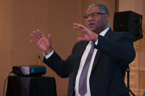 """Trust God when the air is rough and the enemy is real,"" Bishop Julius C. Timble of the Iowa Conference told pastors attending conference for pastors of black churches. Photo courtesy of Linda Furtado"