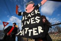 Marie Campbell holds a sign reading Black Lives Matter at a 2015 demonstration in Nashville, Tenn. Photo by Kathleen Barry, United Methodist Communications.