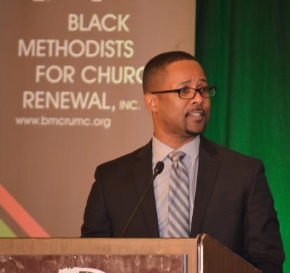 The Rev. Cedric D. Bridgeforth stressed the need for Black Methodists for Church Renewal to  form partnerships with other groups in The United Methodist Church to fight racism in the church and the nation. He spoke at the annual meeting of the caucus. Photo by Maidstone Mulenga